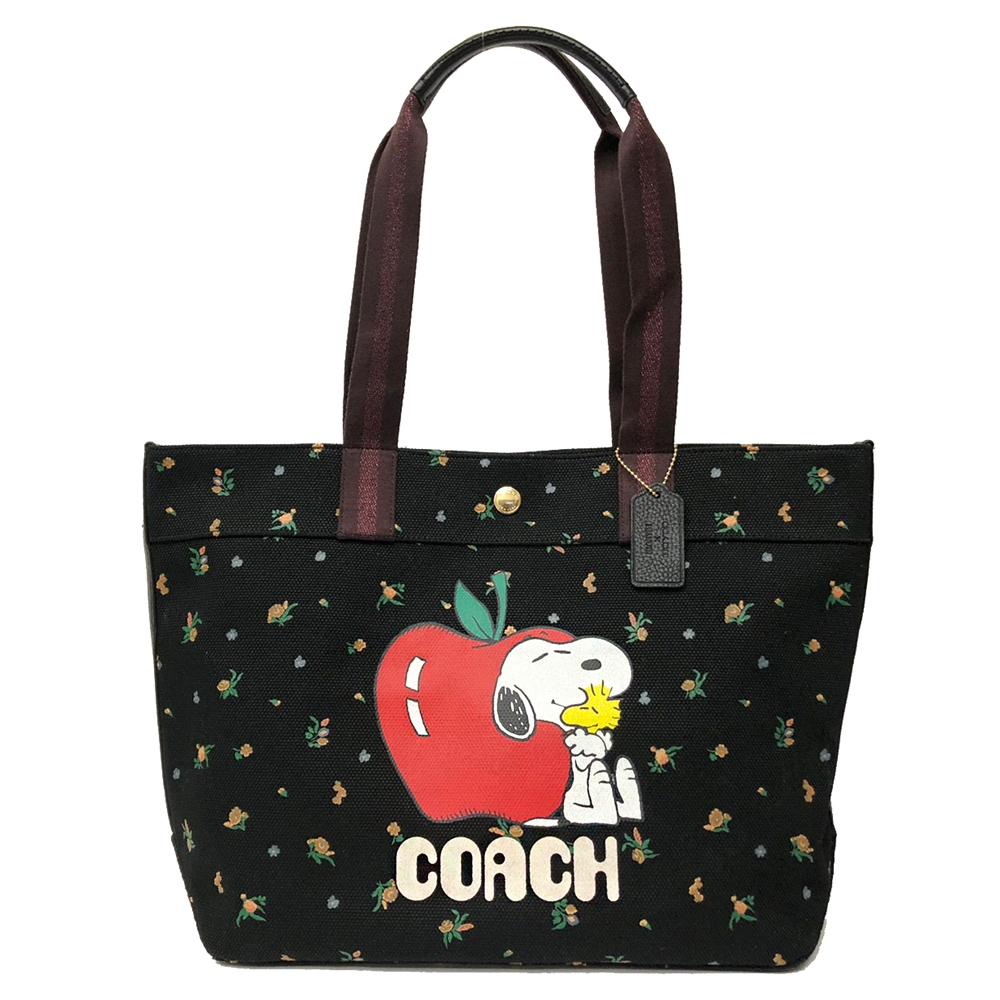 COACH X SNOOPY限量聯名帆布肩背大托特購物包(花卉/黑)