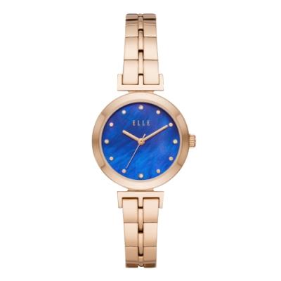 ELLE  ODEON系列晶鑽貝殼面腕錶-藍X玫瑰金(ELL21010)