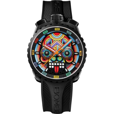 Bomberg 炸彈錶 Bolt-68 系列 瑪雅骷髏計時碼錶-45mm