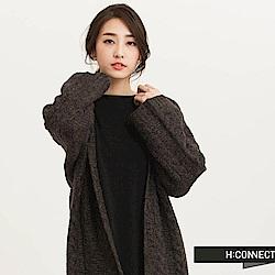 H:CONNECT 韓國品牌 女裝 - 麻花針織開襟長外套-黑(快)
