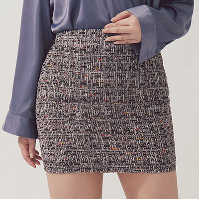 AIR SPACE PLUS 棉麻格紋亮片短裙(黑)