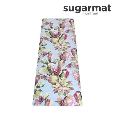 加拿大Sugarmat 麂皮絨天然橡膠加寬瑜珈墊(3.0mm) 春之奇蹟 Pink Succulents Suede