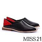 平底鞋 MISS 21 極簡主義 獨特撞色超柔軟後踩式全真皮平底鞋-黑