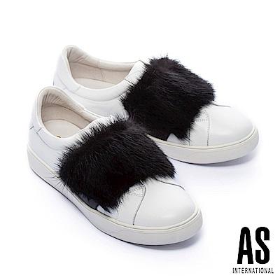 休閒鞋 AS 簡約質感貂毛設計全真皮休閒鞋-白