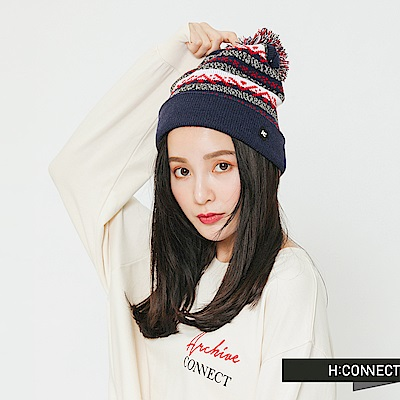 H:CONNECT 韓國品牌 混織球球針織毛帽-藍