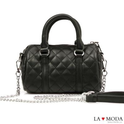 La Moda 熱銷不敗小香風菱格紋車線肩背斜背大容量手提波士頓包(黑)