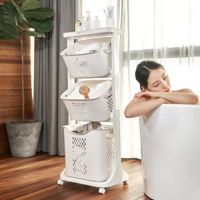 【Mr.box】無印風雙向取物三層洗衣分類收納籃-附輪
