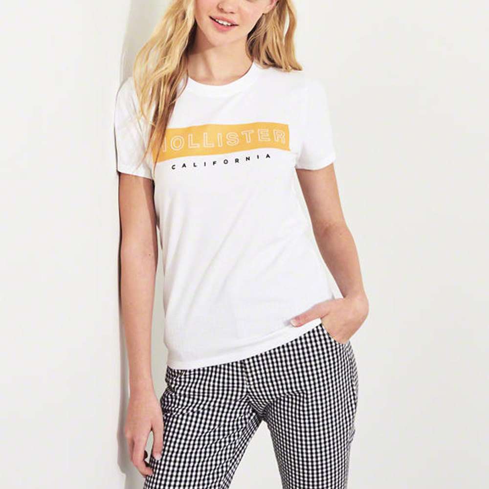 HCO Hollister 海鷗 經典印刷文字短袖T恤(女)-白色