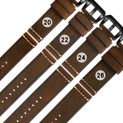 Watchband / 各品牌通用百搭款經典復刻厚實柔軟牛皮錶帶-深棕色