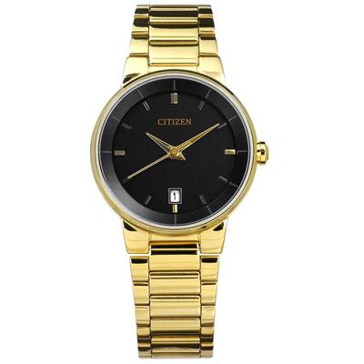 CITIZEN 星辰表 礦石強化玻璃日期視窗日本機芯不鏽鋼手錶-黑x鍍金/27mm