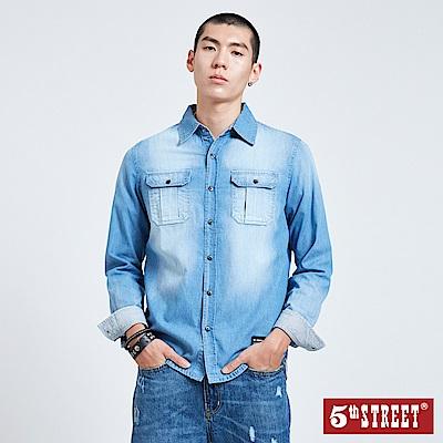 5th STREET 貼袋經典牛仔襯衫-男-拔洗藍