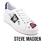 STEVE MADDEN-BLASTOFF 愛心亮片鉚釘休閒鞋-白色