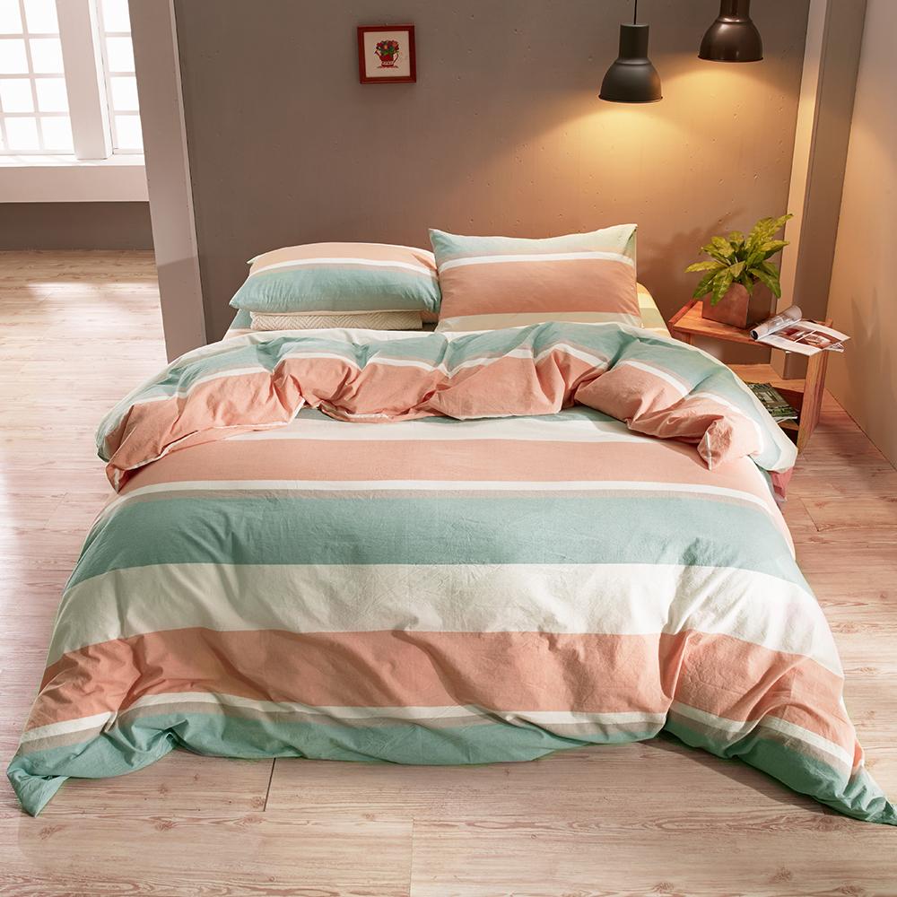 鴻宇 雙人加大床包薄被套組 色織水洗棉 吉榭爾 台灣製
