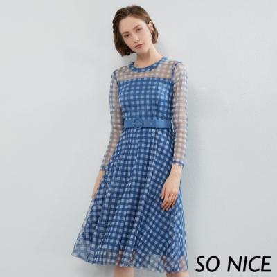 SO NICE時尚維希格紋網紗洋裝