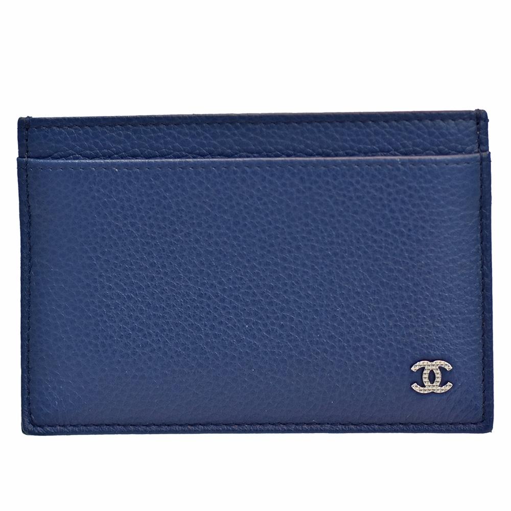 CHANEL 經典銀色菱格刻紋雙C LOGO荔枝紋牛皮信用卡夾(藍色)