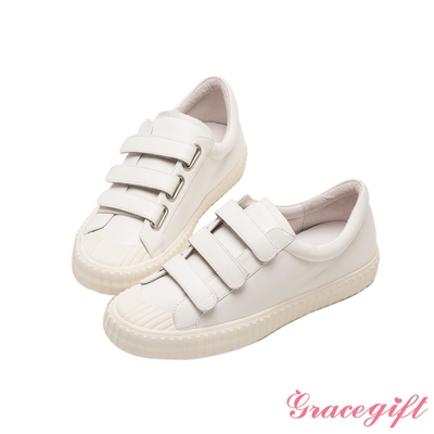 Grace gift X唐葳-聯名全真皮魔鬼氈條帶休閒鞋 白