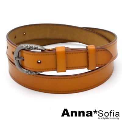 AnnaSofia 立體雕紋釦縫線革-二層牛皮腰帶皮帶(黃駝)