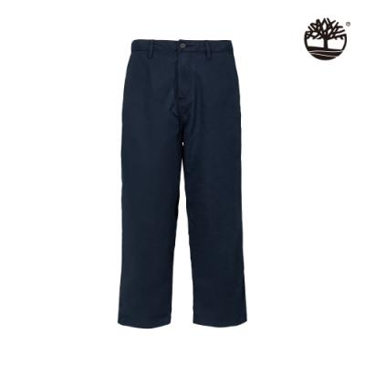 Timberland 男款深寶石藍有機棉涼感闊腿翻邊寬褲|A2CE1