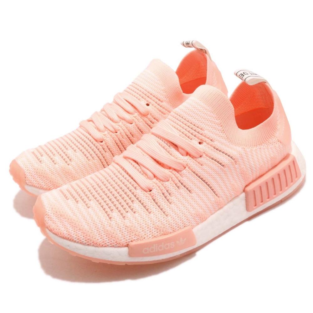 adidas 休閒鞋 NMD R1 STLT PK 女鞋 愛迪達 三葉草 襪套式 球鞋穿搭 粉橘 白 AQ1119