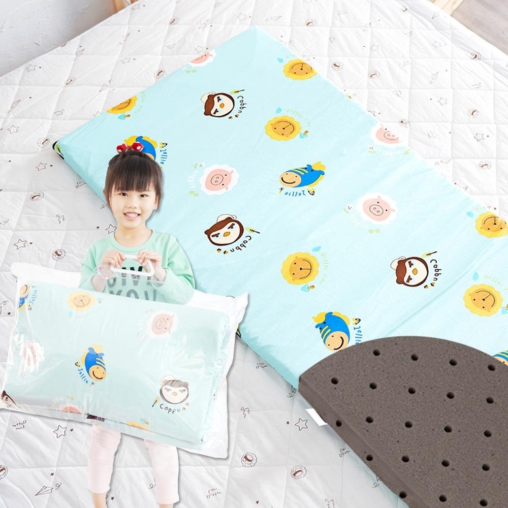 奶油獅-同樂會系列-100%精梳純棉嬰兒備長碳記憶床墊-湖水藍60x120cm