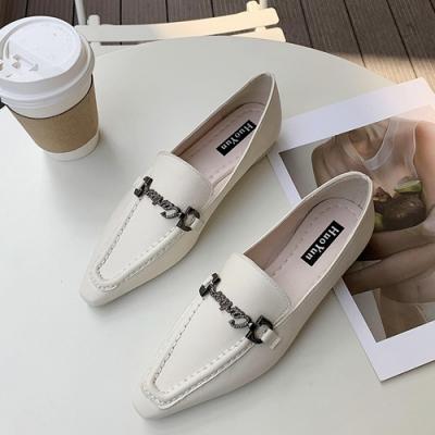 KEITH-WILL時尚鞋館 英倫風復古金釦時尚樂福鞋-米白