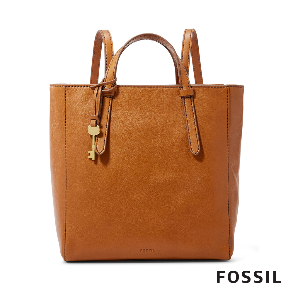 FOSSIL CAMILLA 真皮三用小後背包-駝色 ZB7667231