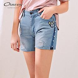 OUWEY歐薇 珍珠可愛小狗刷破牛仔短褲(藍)