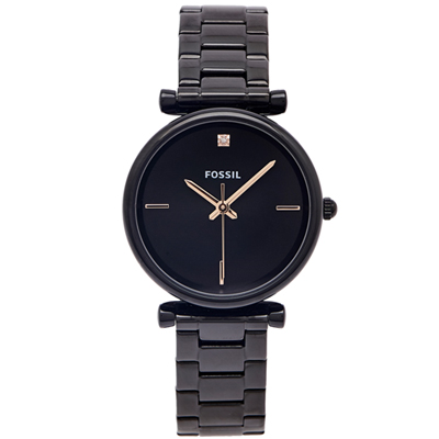 FOSSIL 玩美優雅款不鏽鋼手錶(ES4442)-黑面X黑色/34mm
