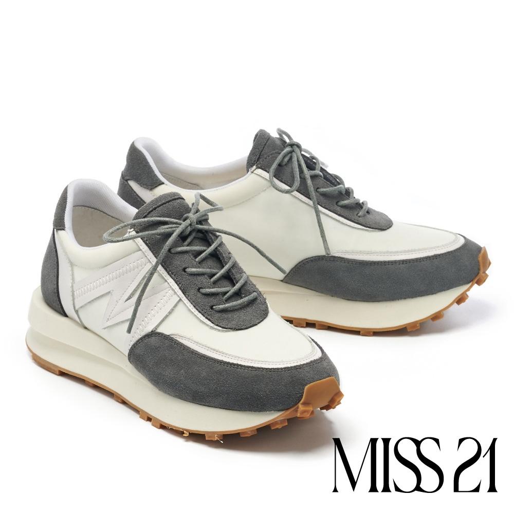 休閒鞋 MISS 21 超跳色M字潮流綁帶厚底休閒鞋-白