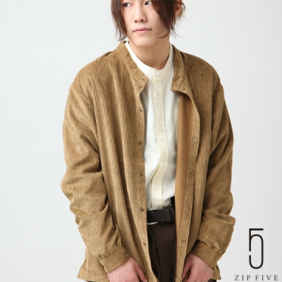 ZIP日本男裝 落肩感粗條紋燈芯絨立領襯衫  (3色)