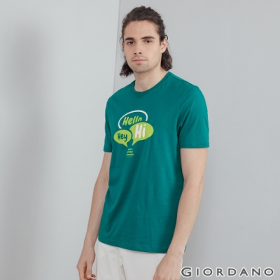 GIORDANO 男裝Greeting印花T恤 - 69 濕地綠