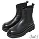 Ann'S就是比較瘦-頂級牛皮彈力鬆緊切爾西輕量厚底短靴-黑 product thumbnail 1
