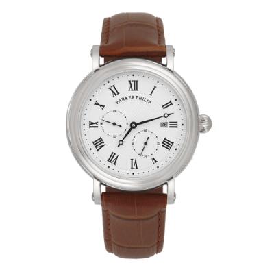 PARKER PHILIP派克菲利浦古典限量自動上鍊機械錶(銀殻/白面/咖帶)