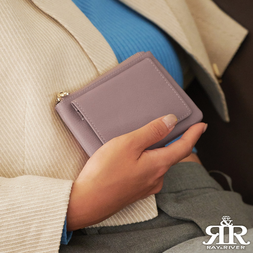 2R 比莉billie牛皮翻蓋卡片零錢包 紫漾粉