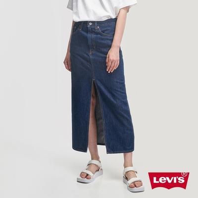 Levis 女款 中腰開岔牛仔長裙 精工深藍染水洗