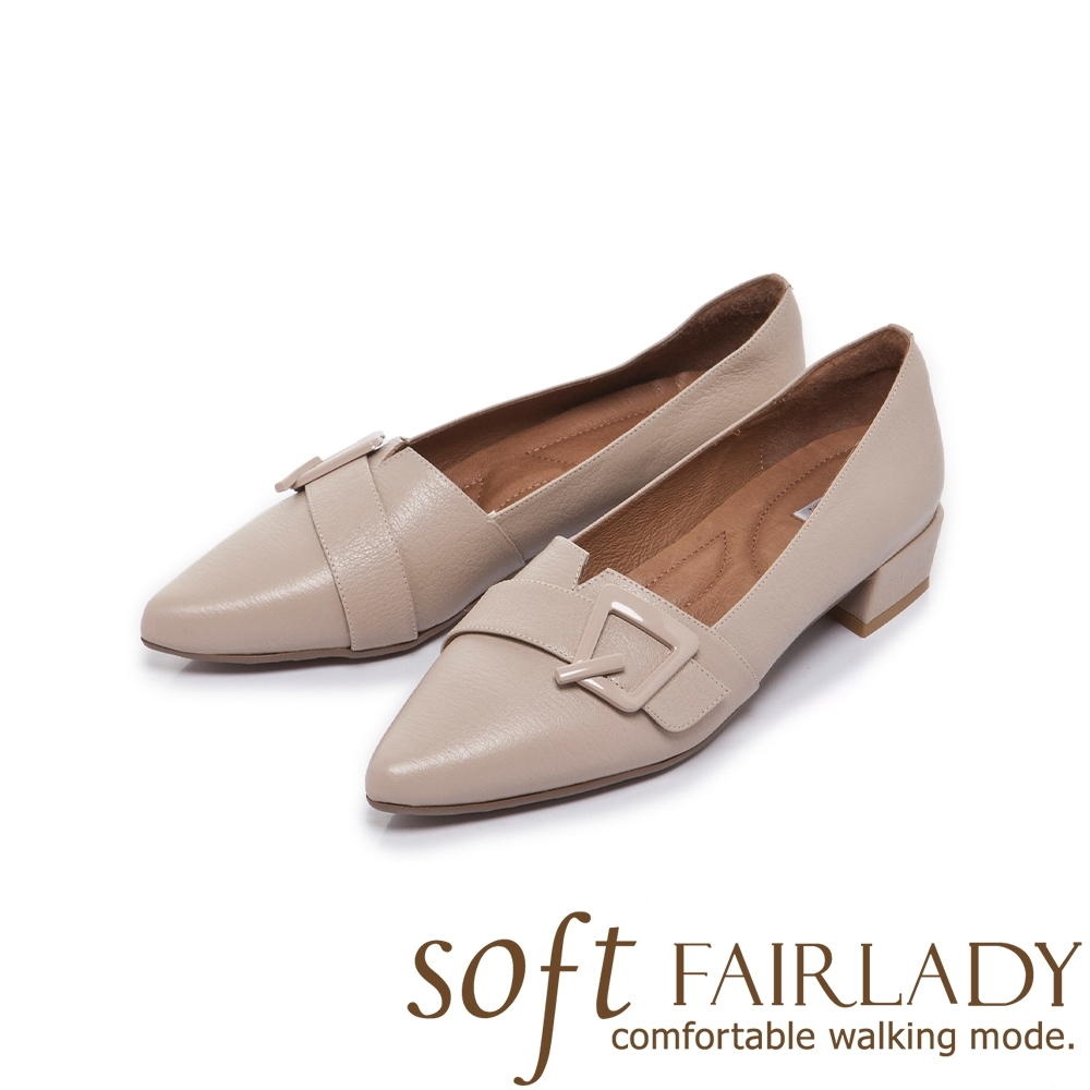 FAIR LADY Soft芯太軟飾釦拼接剪裁尖頭低跟鞋 象牙