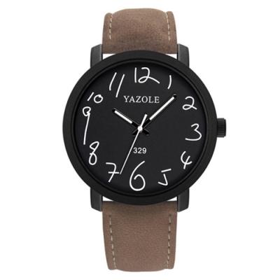 YAZOLE 亞卓倫329-大人小學社-童趣數字麂皮帶手錶