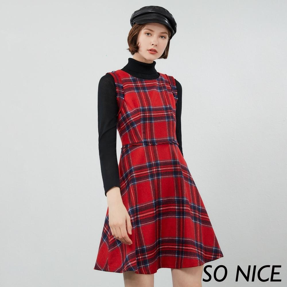 SO NICE亮麗蘇格蘭紋背心洋裝