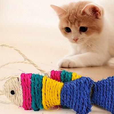 DYY》小掛繩劍麻魚12cm 貓磨爪耐抓劍麻逗貓玩具*4隻