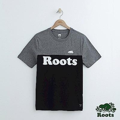 男裝Roots 撞色短袖T恤-灰