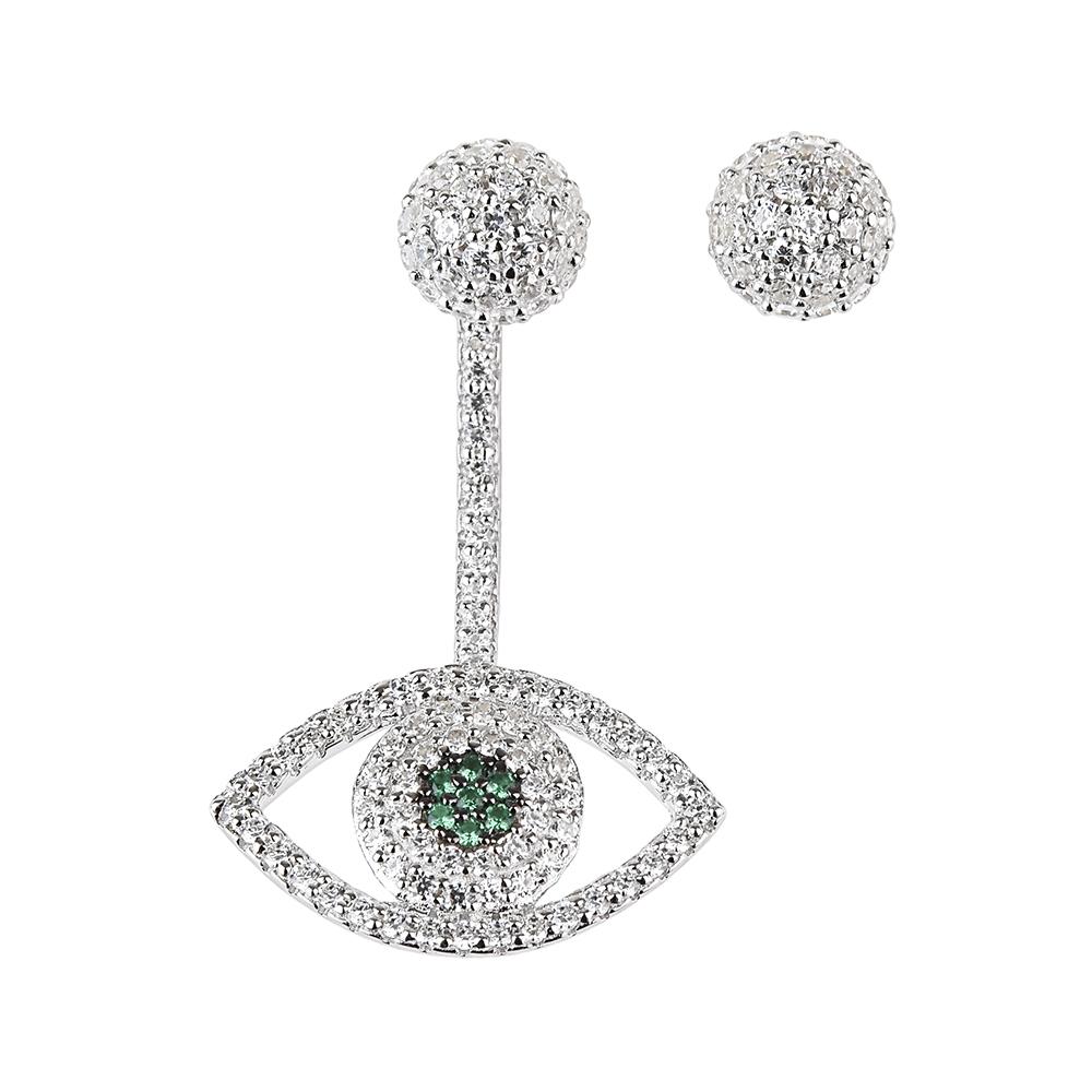 apm MONACO ETE系列晶鑽鑲飾幸運眼設計不對稱純銀耳環(銀)