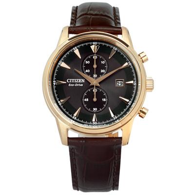 CITIZEN 光動能計時日期防水真皮手錶-黑x香檳金框x深咖啡/43mm