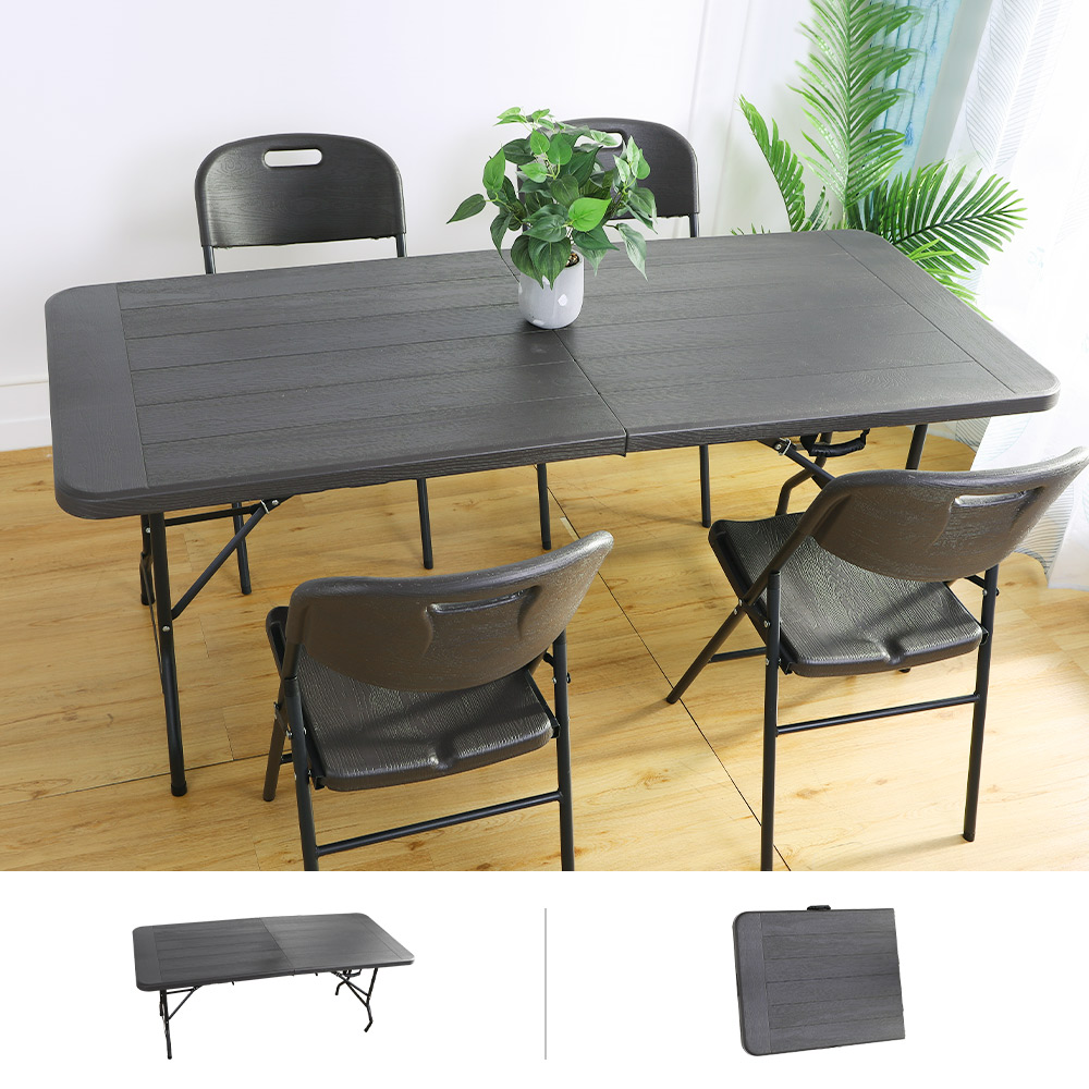 Amos-180*76手提折疊式木紋戶外餐桌/會議桌