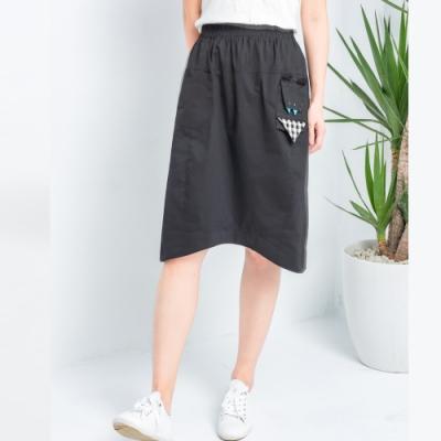 【白鵝buyer】 童趣口袋韓國製休閒裙_黑色