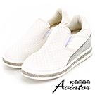Aviator*韓國空運-正韓皮革編織亮鑽裝飾內增高懶人鞋-白
