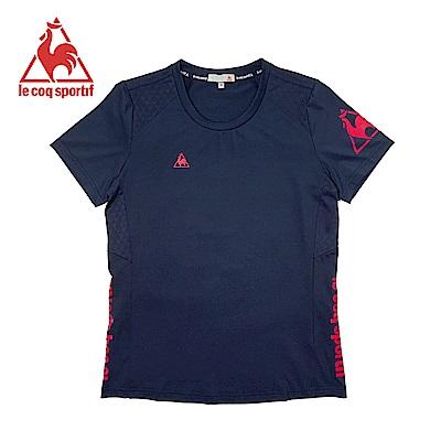 le coq sportif 法國公雞牌基礎透氣吸濕排汗短袖T恤 女-丈青