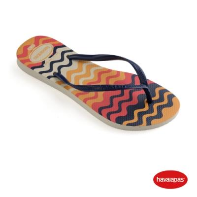 Havaianas  哈瓦仕 拖鞋  夾腳拖 巴西 女鞋 米色 4145638-0121W Harmony 波浪 Slim