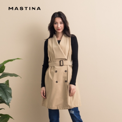 【MASTINA】經典雙排釦款腰帶背心-外套(二色)