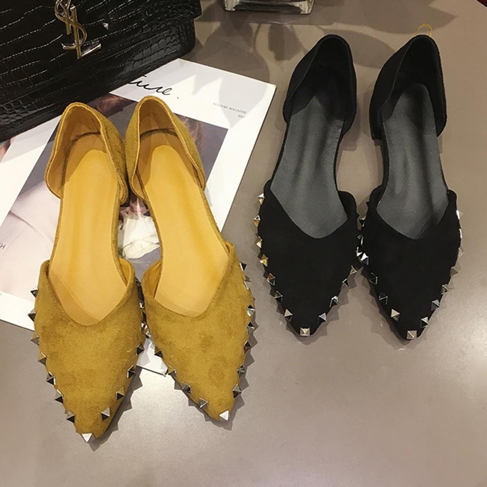 KEITH-WILL時尚鞋館舒活印象韓新品鉚釘尖頭平底鞋