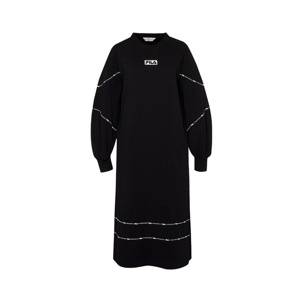 FILA #扳勢回潮 女針織長袖洋裝-黑色 5DRV-5441-BK